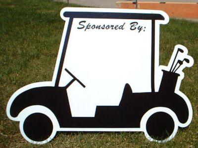 Custom outdoor sign featuring a golf cart